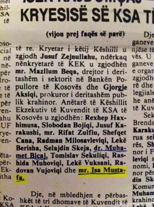 Shkëputur nga gazeta Rilindja, datë 5 dhjetor 1989